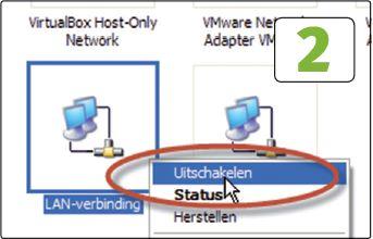 Windows XP kan volledig van de buitenwereld worden afgesneden door de netwerkkabel te verwijderen of door via het Configuratiescherm de netwerkadapter uit te schakelen.